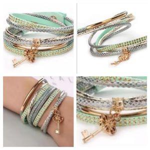 Jewelry - Mint Green Multilayer Rhinestone Bracelet With Key